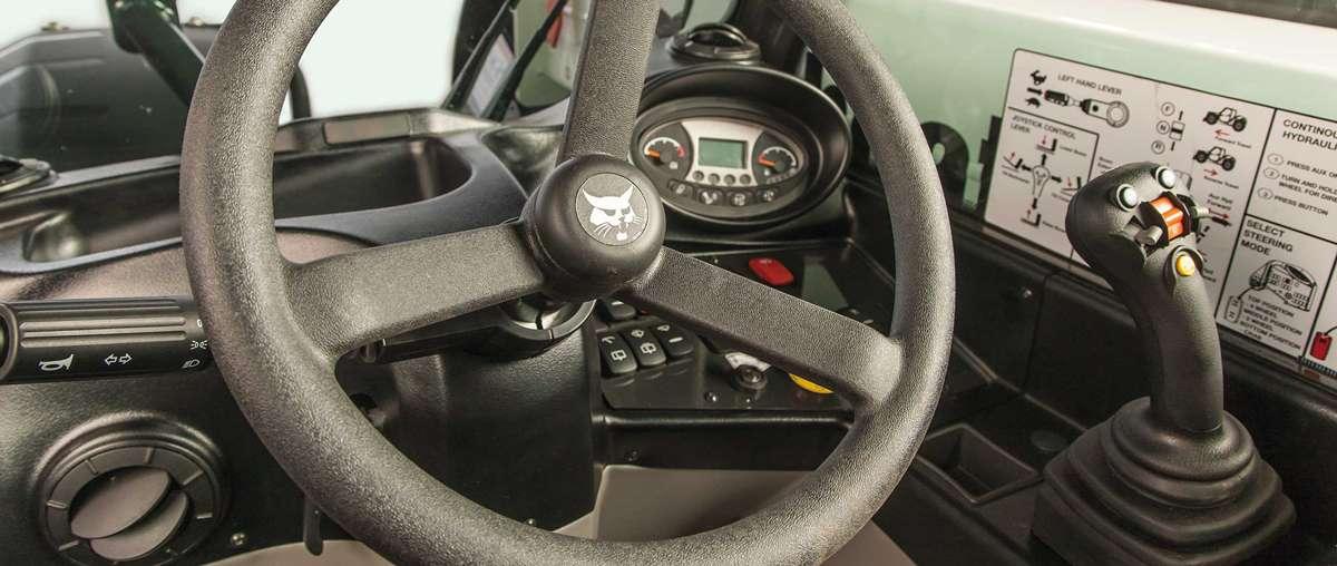 The Bobcat V519 Telehandler Joystick Controls And Instrumentation Inside The Cab