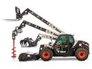 Side Angle Studio Image Of Bobcat V519 Telehandler Displaying Multiple Telehandler Attachment Options