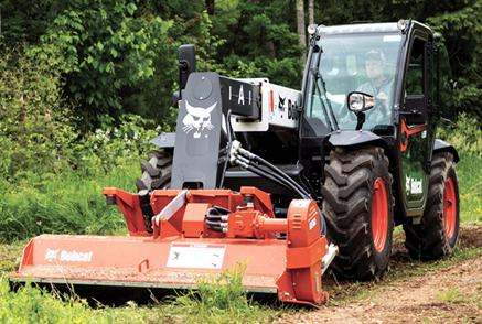 Bobcat V519 VersaHANDLER telescopic tool carrier (telehandler) and flail cutter attachment.