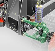 A mechanical rendering shows the front suspension system of the Toolcat utilty work machine.