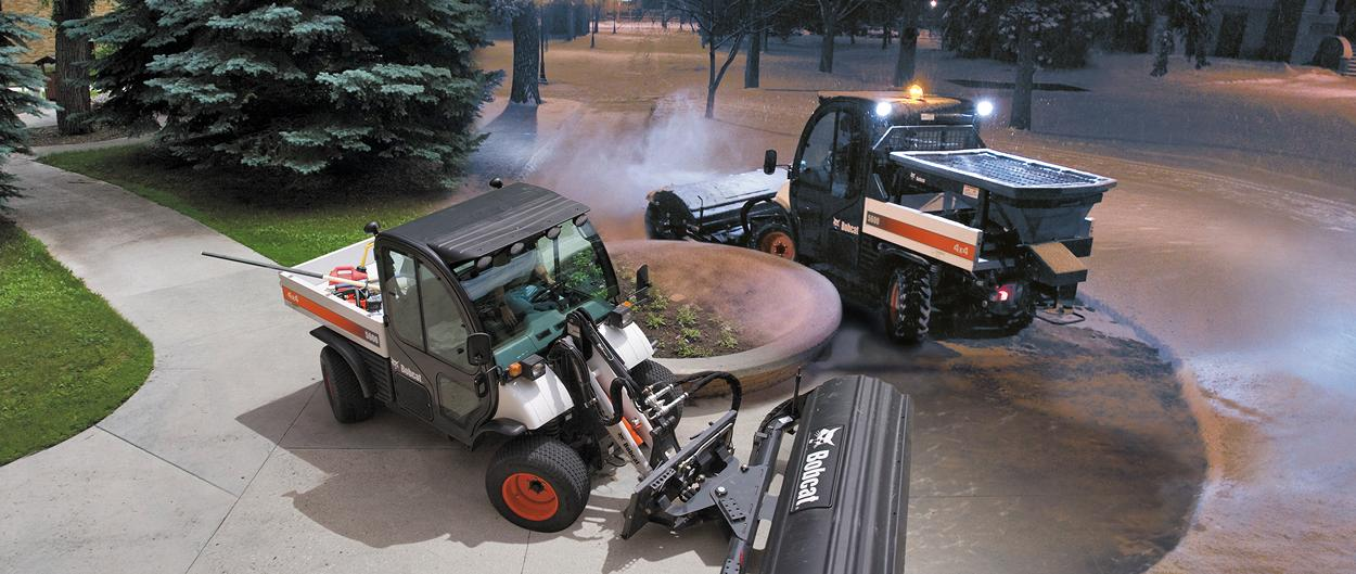 Composite photo of two Toolcat 5600 utility work machines circling around a planter in different seasons.