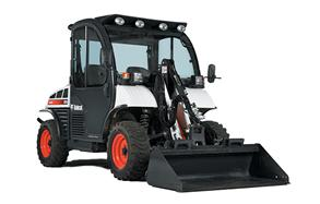 Cut Out Image Of Toolcat 5610 Utility Work Machine With Front-Mounted Attachment And Rear Implement