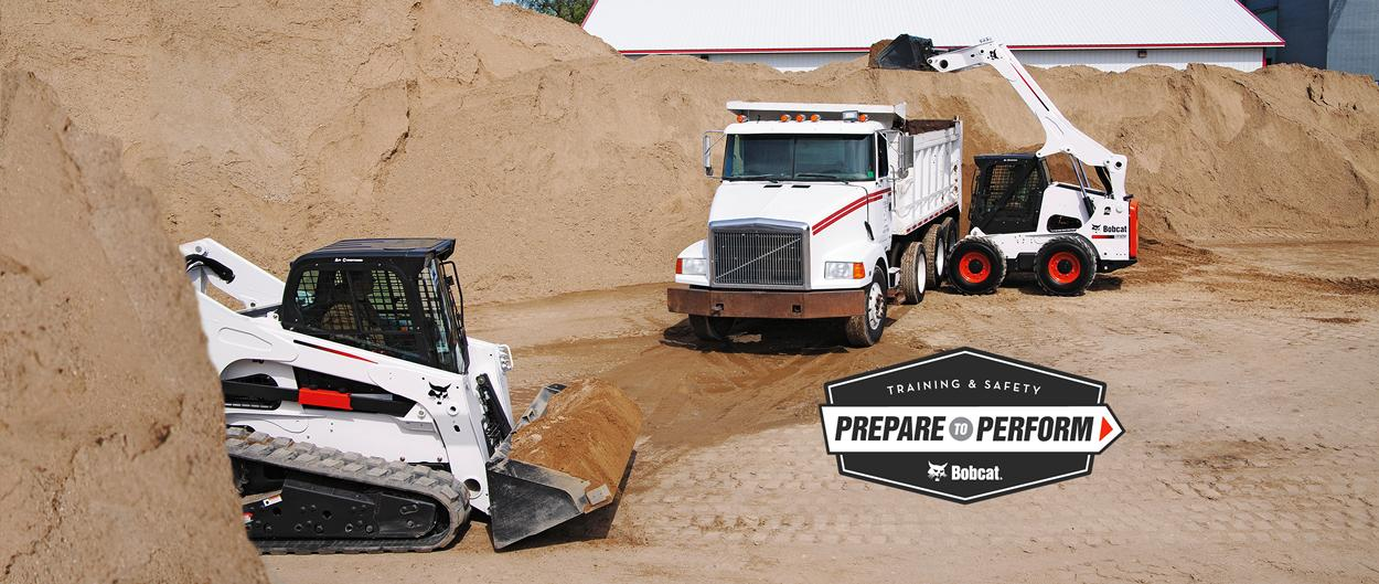 Bobcat skid-steer loader, all-wheel steer loader and compact track loader training courses, safety videos and other resources.