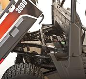 Cargo box of Bobcat utility vehicles lifts up for maintenance access.