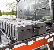 Tool box accessory shown in the cargo box of a Bobcat 3400 UTV.