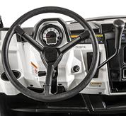 Steering wheel and gear selection lever on the Bobcat 3400XL utility vehicle.