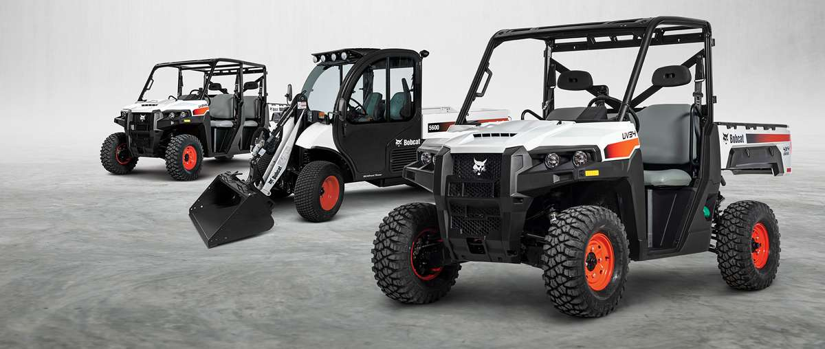 Lineup Of Bobcat Utility Products Including Two Utility Vehicles (UTVs) and Toolcat Utility Work Machine.