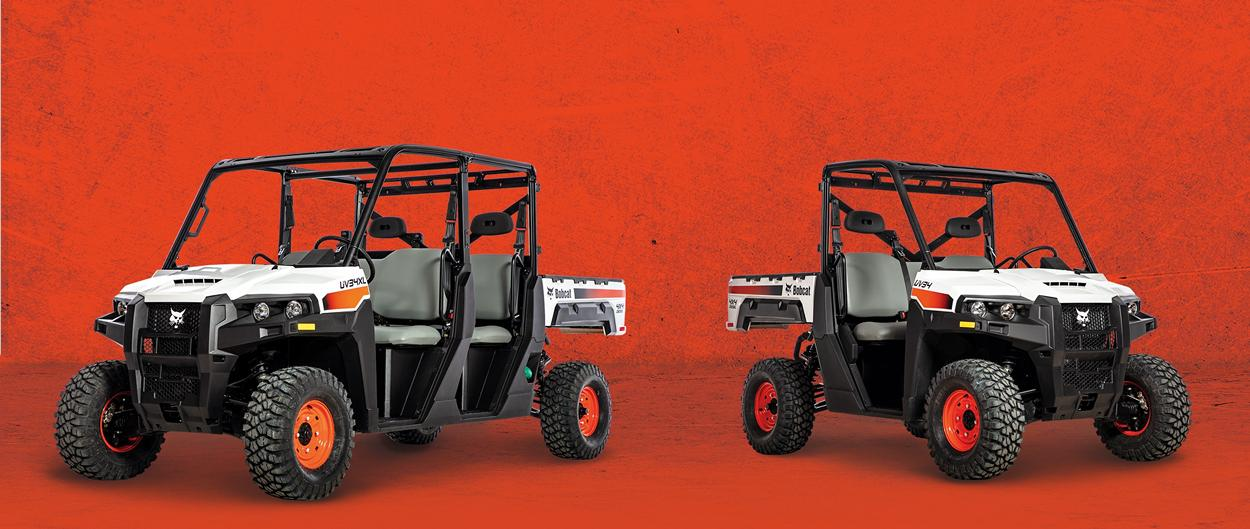 Bobcat UV34XL and UV34 utility vehicles.