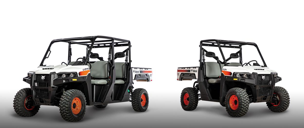 Bobcat UV34XL and UV34 utility vehicles (UTVs).